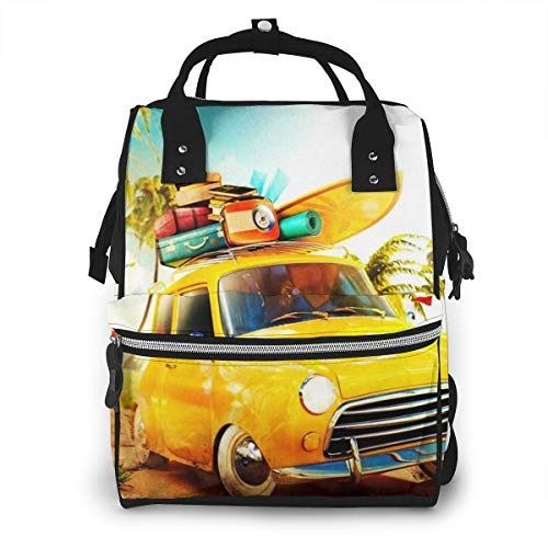 Diaper Bag Changing Nappy Backpack Car Surfboard Suitcases Tropical Large Capacity Waterproof Mummy Bag Multi-Function Stylish for Mom Dad Travel with Baby