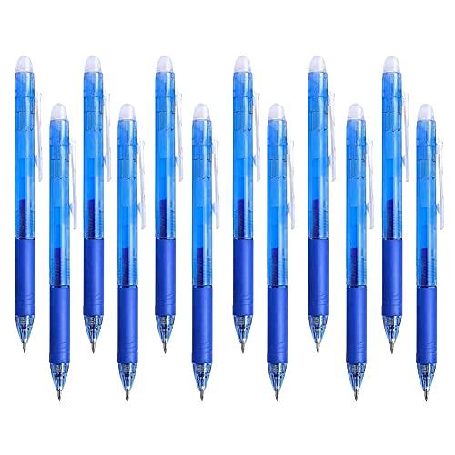 Bolígrafos de Gel Borrables,Boligrafos Borrable,Bolígrafo Roller de Tinta Borrable, 0,5 mm, Retráctil, para Estudiantes, Escuela, Material de Oficina,10 Piezas.(Azul 10)
