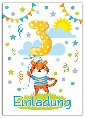 12 Einladungskarten 3. Kindergeburtstag Jungen Mädchen Tiere dritte Geburtstag Geburtstagseinladungen Einladungen Geburtstagsparty Kartenset Tiger