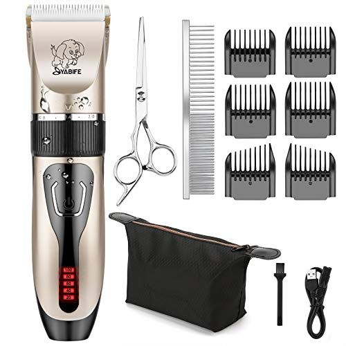 Yabife Dog Clippers, USB Rechargeable Cordless Dog Grooming Kit, Electric Pets Hair Trimmers Shaver...