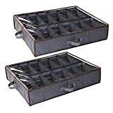Anyoneer Under Bed Shoe Storage Organizer, Set of 2, Adjustable Dividers, Sturdy Handles, Stainless Steel Zipper, Fits 24 Pairs Total, Underbed Storage Solution with Clear Window, Breathable, Gray