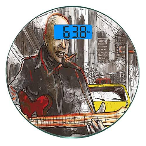 Digitale Präzisionswaage für das Körpergewicht Runde Modern Ultra dünne ausgeglichenes Glas-Badezimmerwaage-genaue Gewichts-Maße,Straßenmusiker-Mann-Gesang, der Gitarren-Show-Leistungs-Schmutz-städtis