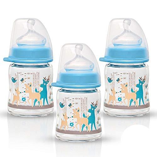NIP Weithalsglasflasche Glas Flasche Boy Mix // 3er Set // Glas-Babyflasche // 120ml // mit Weithalstrinksauger anatomisch, Silikon, Gr. 0+, Milch