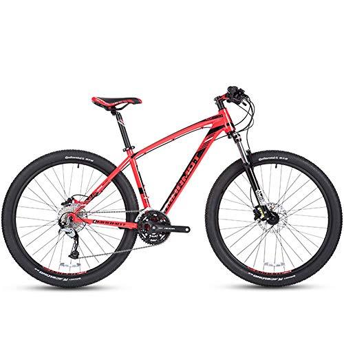 DJYD 27-Gang-Mountainbikes, Herren Aluminium 27,5 Zoll Hardtail Mountainbike, Gelände Fahrrad mit Doppelscheibenbremse, verstellbarem Sitz, Rot FDWFN