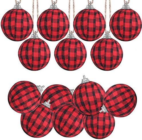 Svnntaa 12PCS Christmas Buffalo Plaid Ball Ornaments Christmas Fabric Ball Hanging Ornament product image