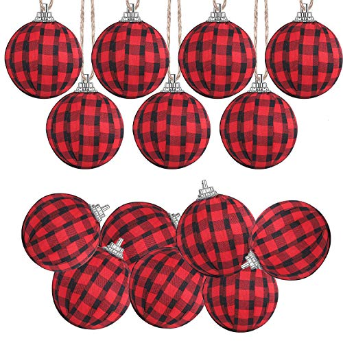 Svnntaa 12 Pack Christmas Buffalo Plaid Ball Ornaments Fabric Ball Hanging Ornament Tree Hanging Ornament for Christmas Tree Party Home Decoration