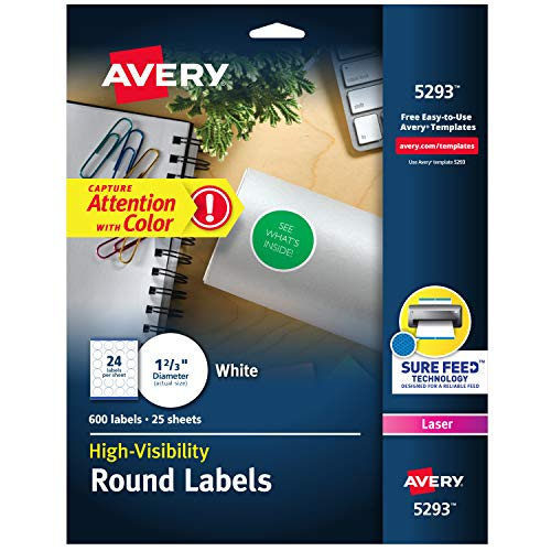 Avery 5293 Round Labels, 1-2/3