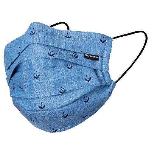 Viele Farben   Hochwertige Sommermaske - Atmungsaktiv   90° wasch- kochbar   1-lagig 100% BW   anpassbarer Gummi   Nasenbügel   Stoffmaske   Behelfsmaske   Alltagsmaske (Ethno-jeans-dunkelblau)