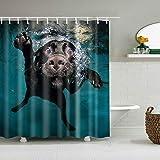 BWBJJ 3D gedruckte Schwimmender schwarzer H& 150x180 cm Duschvorhänge Badvorhang Wasserdicht Badezimmer Home Decor Waschbare Stoff Bad Displaye