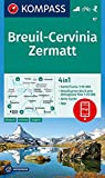 KOMPASS Wanderkarte Breuil-Cervinia, Zermatt: 4in1 Wanderkarte 1:50000 mit Aktiv Guide und Detailkarten inklusive Karte zur offline Verwendung in der ... Skitouren. (KOMPASS-Wanderkarten, Band 87)
