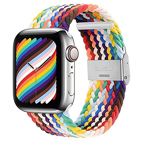 VeveXiao Solo Loop Strap Compatible with Apple Watch SE Band 42mm 44mm Men, Adjustable Braided Solo Loop Stretchable Elastics Sport Wristband for iWatch Series 6/5/4/3/2/1 (Pride Edition, 42mm/44mm)