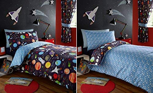 Kidz Club Planets Double Duvet Cover and 2 Pillowcase Set Bedding for Boy's Kidz Sun Mars and Moon, Polyester-Cotton, Dark Blue