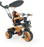 INJUSA – Tricycle Évolutif City Couleur Orange avec Parasol, Poignée de Commande Parentale et Siège Réglable, Recommandé à partir de +6 Mois