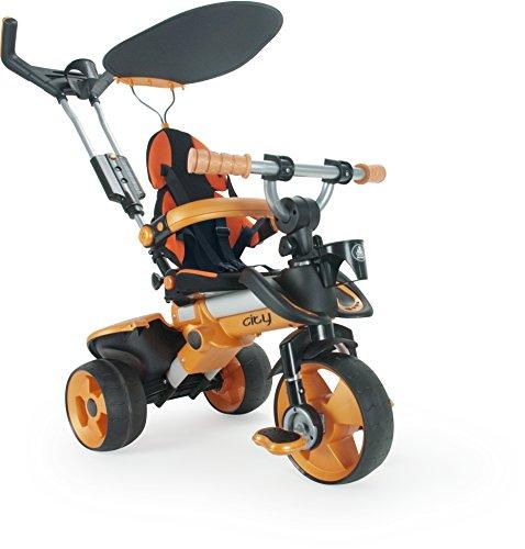 Driewieler in oranje met zonnedak pedalen en inklapbare voetsteun City Orange