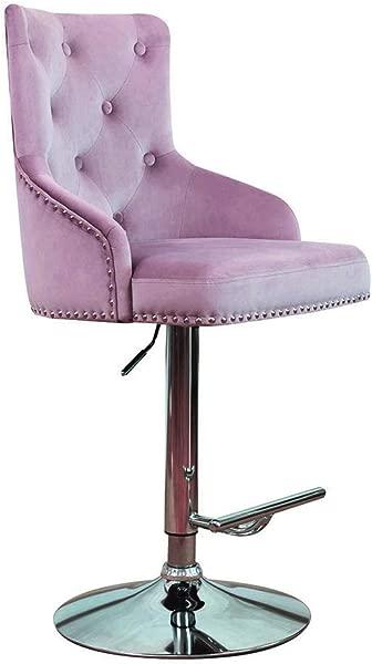 DMF 家具天鹅绒酒吧凳子椅子高背臂高度可调厨房餐厅柜台房间织物酒吧凳子粉红色紫色