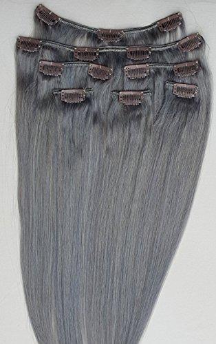 55,9 cm 7 extensions de cheveux humains 100% Remy Clip en acier # Argent Foncé (Gris)
