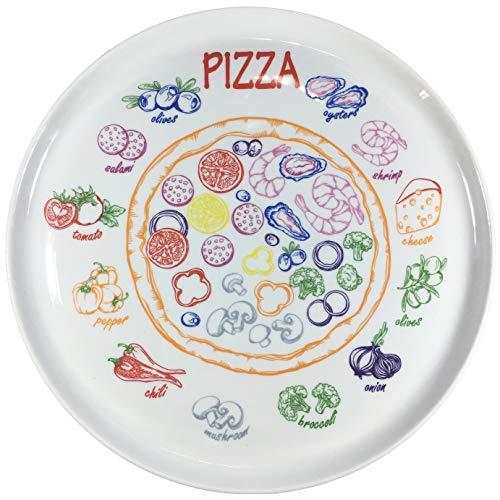Set di 4 piatti da pizza in vera porcellana, Ø 300 mm, con decorazione con interessanti ingredienti per pizza, idea regalo