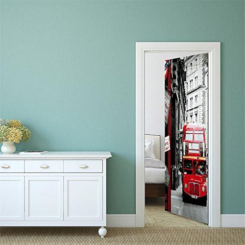 Deurbehang zelfklevend 3D 77X200cm vinyl rode bus deurbehang deurposter behang kunst muurschildering voor woonkamer slaapkamer wooncultuur PVC afneembaar waterdicht 95x215cm