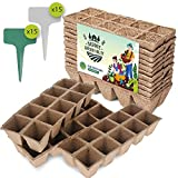 15 Seed Starter Tray Kit by Organic Garden Valley | Biodegradable and Compostable | Vegetable, Fruits, Flowers, Indoor and Outdoor | 15x10 150 Cells with 30 Plant Labels