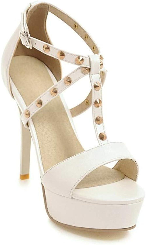 HmDco Damen Peep Toe Sandalen Schnallenschuhe mit High Heels, weiß  | Eleganter Stil  | Zu verkaufen