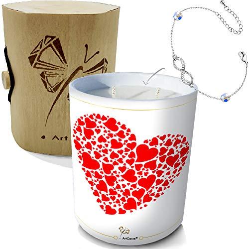 ArtGosse Vela con joya decorada con cristales de Swarovski® • 2 mechas de cera vegetal perfumada manzana de amor • Caja de regalo con pulsera