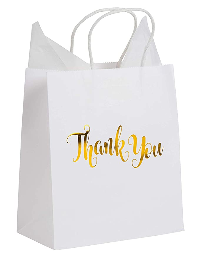 Thank You Bags - 15-Pack Small White Paper Gift Bags with Shiny Gold Foil, 8 x 4 x 8.8 Inches, Includes 20 Sheets Tissue Wrapping Paper