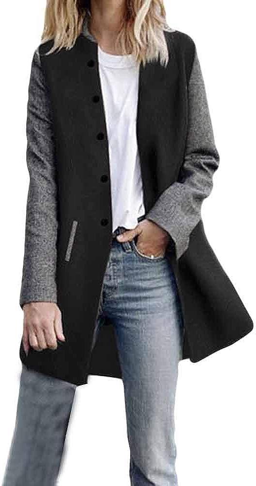Women Long Sleeve Open Front Cardigan Jackets Lightweight Color Block Button Blazer Suit Outwear Coat