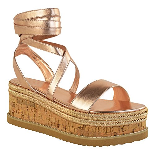 Damen Schnürschuhe Sandalen Zehe öffnen Keilsandalen 35-42