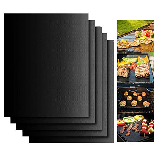 Grill Mats for Outdoor Grill, Dailyart Grill Mats Non Stick Set of 5 BBQ Grill Mat Baking Mats Teflon BBQ Accessories Grill Tools Reusable,Works on Gas, Charcoal, Electric Grill 15.75 x 13-Inch, Black