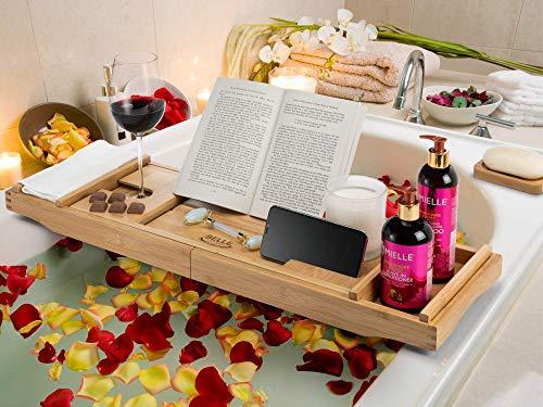 BELLE Serenity - Bandeja para bañera de bambú para una sola persona para dos personas, baño relajante spa, bandeja de baño extensible de lujo y soporte para libros