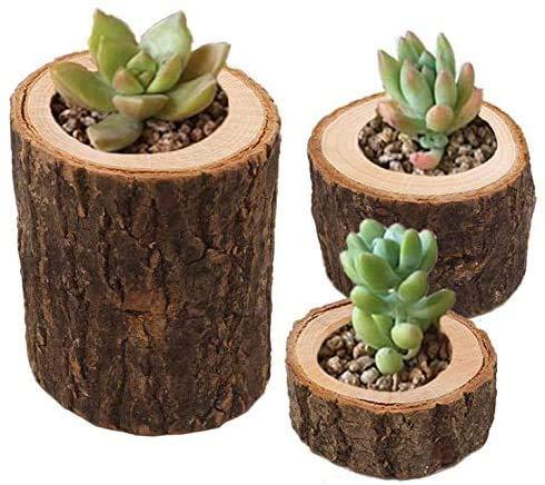 Duokon Wood Timber Pile Candle Holder Flameless Candles Stand Candlestick Log Flowerpot Ornament Decor(Three-piece)
