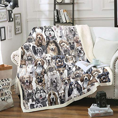 Dog Fuzzy Blanket Husky Pug Dog German Shepherd Golden Retriever Soft Fluffy Fleece Throw Blanket Puppy Plush Blankets and Throws Old Vintage Sherpa Blanket Kids Adults Gray Single 50x60 Inch