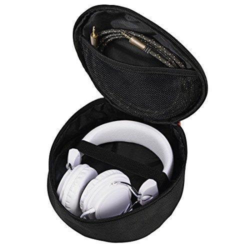 Hama Kopfhörer-Tasche für On Ear/Over Ear Headset (robustes Case zur passend für Sony, Apple Beats, JBL, Bose, Sennheiser, mit Netz-Innentasche, Karabinerhaken, 17 x 16,5 x 6 cm, Schutztasche) schwarz