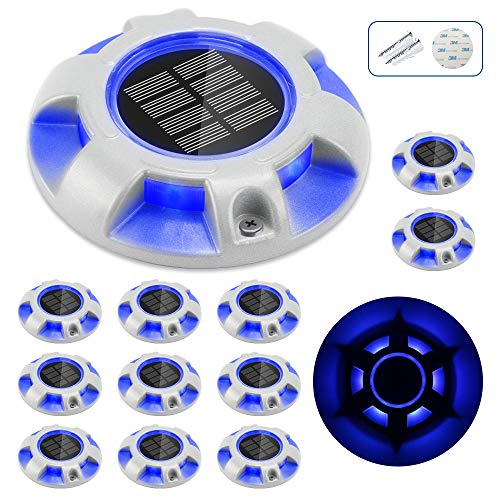 CHINLY Solar Dock Lights Outdoor Waterproof, LED Deck Light Driveway Lights for Marine Pathway Garden Yard Lamdscape Stair Step Markers 12pcs (Blue)