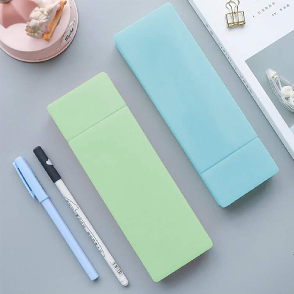 INTVN 2 estuches translúcidos para bolígrafos + 4 reglas de pintura, estuche transparente con compartimentos de almacenamiento divididos, suministros para la oficina y la escuela (azul, verde): Amazon.es: Oficina y papelería
