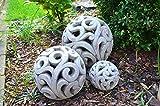DEKO Kugel Keramik Dekokugel ca. 17cm grau-braun Gartendeko Beetdeko Pflanzdeko Windlicht Shabby rustikal Vintage Ornament Garten Tischdeko Frühling Sommer - 8