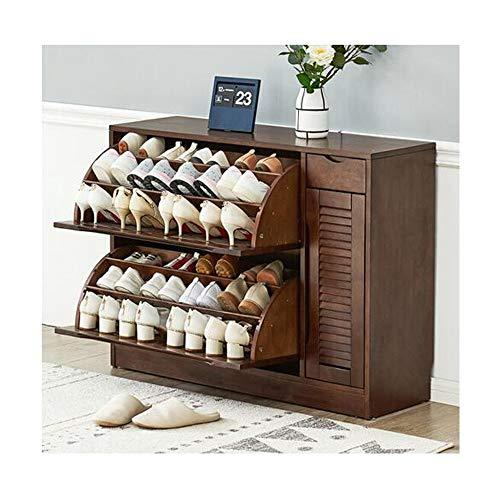 Zapatero KPPTO, sencillo y moderno, de madera maciza, gran capacidad, multi-capa, zapatero, armario para guardar la puerta, armario de almacenaje, vida bonita