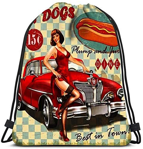 EU Mochilas con cordón Bolsas Hot Dog Vintage Pin Up Girl y Retro Car Bolsas de Hombro portátiles Travel Sport Gym Bag 36 x 43cm / 14.2 x 16.9 Pulgadas