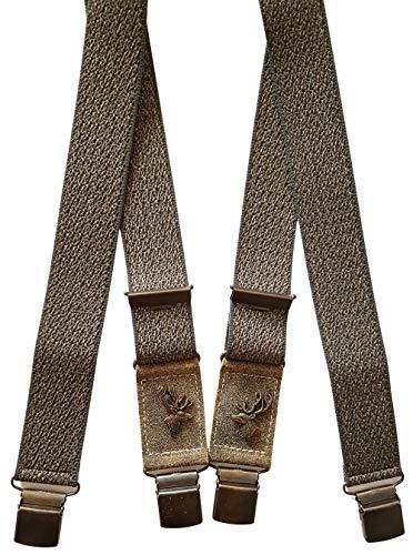 Luise Steiner Tirantes especiales con diseño de ciervo para hombre con clips extrafuertes y tirantes especiales de goma, accesorios para traje regional