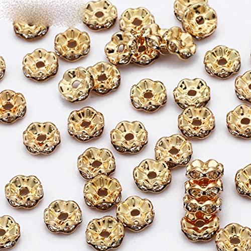 50 piezas 4/6/8/10 mm de oro rosa de diamantes de imitación de cuentas espaciadoras de cristal para hacer joyas que hacen bricolaje pulsera collar-oro de onda, 6 mm de agujero 2 mm 50 piezas