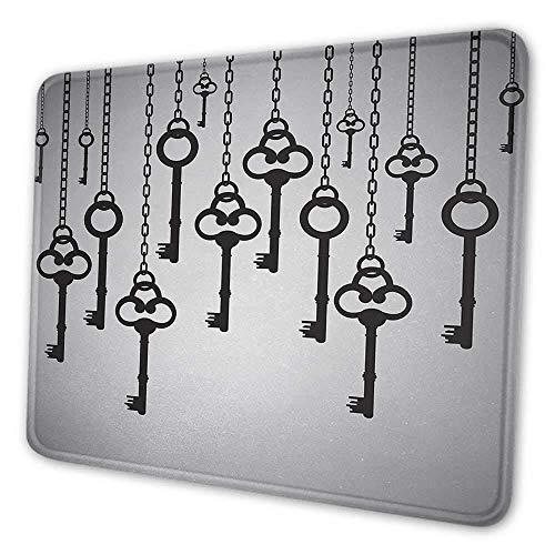 Antike Gaming-Mauspad-Silhouetten alter Schlüssel hängen hängende Kettenglieder, die sicheres Hauptöffner-Mauspad für Frauen ziemlich hellgrau schwarz entsperren
