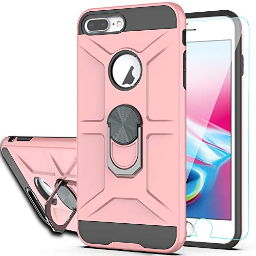 iPhone 8 Plus Case, iPhone 7 Plus, iPhone 6 Plus Case with HD Screen Protector YmhxcY 360 Degree Rotating Ring Kickstand Holder Dual Layers of Shockproof Phone Case for iPhone 8 Plus-ZS Rose Gold