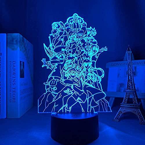 Lámpara de ilusión 3D LED noche luz equipo alma siete leal pecado grupo dormitorio mesita de noche decoración regalo de cumpleaños para niños