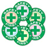 Safety First Stickers - (Pack of 120) 2' Large Laminated Vinyl Decals for Construction Hard Hat Motorcycle Welding Helmet Toolbox Labels
