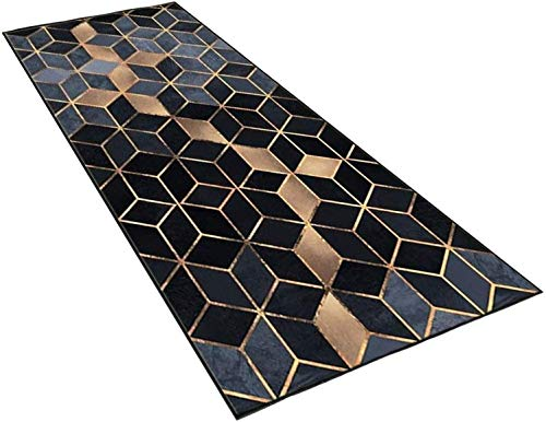 CAOMING Alfombra Interior, Corredor de Salas de alfombras, Antideslizante Superabsorbente Suave, para Sala de Estar Corredor de Oficina Dormitorio Cocina (Color : Black, Size : 120x200cm)