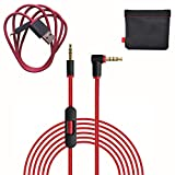 Original Replacement AUX Audio Cable Cord for Beats by Dre Headphones Solo 2/3/Studio/Pro/Detox/Wireless Red(Discontinued by Manufacturer)+Replacement Charger Cable for Beats by Dr Dre and Pill