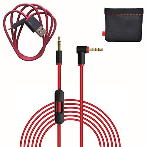 Cable de audio auxiliar de repuesto original para auriculares Beats by Dre Solo 2/3/Studio/Pro/Detox/Wireless Red (discontinuado por el fabricante) + cable cargador de repuesto para Beats by Dr Dre y Pill