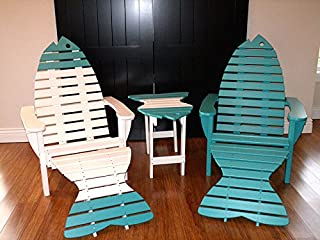 Poly Fish Adirondack Chair Set - 2 Chairs, 2 Ottomans and 1 Side Table8 Premium Colors - Pink - Amish Made in USA