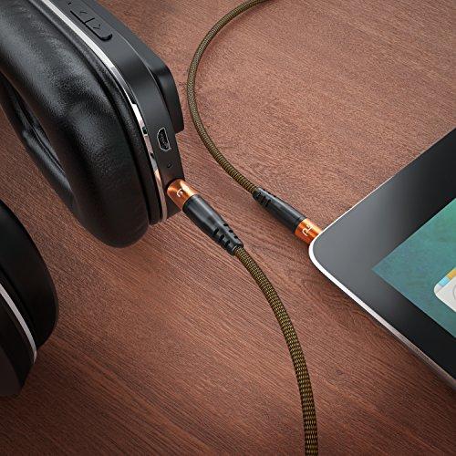 Primewire - 2m AUX Kabel Klinkenkabel 3,5mm - Audiokabel mit Nylonmantel und Alustecker - geeignet für Handy, Smartphone, Tablet, Autoradio, MP3-Player usw. - Rundknickschutz - orange schwarz