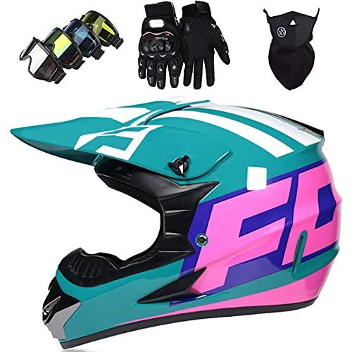 Casco Motocross Adolescentes, Cascos Integrales Set Rosa Verde Con Guantes/Gafas/Máscara, DTC & ECE Certificación, Cascos Cross Moto, Para BMX ,Bicicleta Dirt Bike, MTB, ATV ,Offroad,Con Diseño FOX.,L